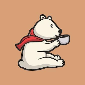 Kreskówka projekt zwierząt niedźwiedź polarny trzyma kubek napoju słodkie logo maskotki
