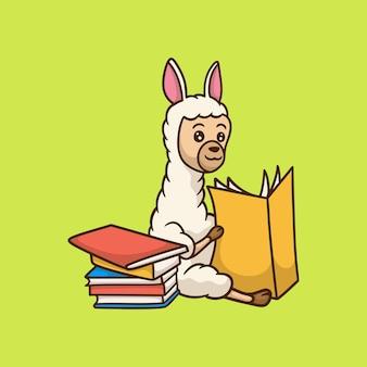 Kreskówka projekt zwierzęcia lama czytanie książki słodkie logo maskotki