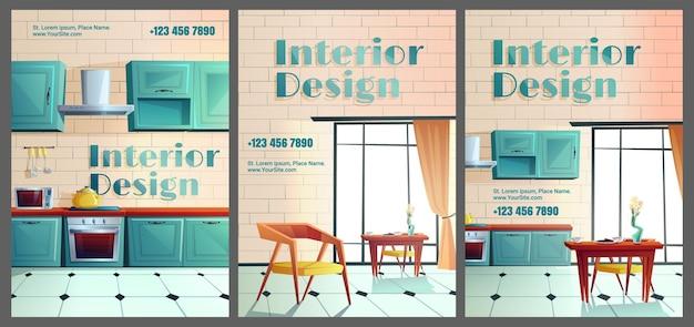 Kreskówka projektowanie wnętrz. domowa kuchnia z pełnym wyposażeniem. kreskówka.