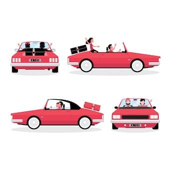 Kreskówka przedstawiająca podróżowanie samochodem przedstawia zestaw czterech samochodów z prowadzącymi ludźmi