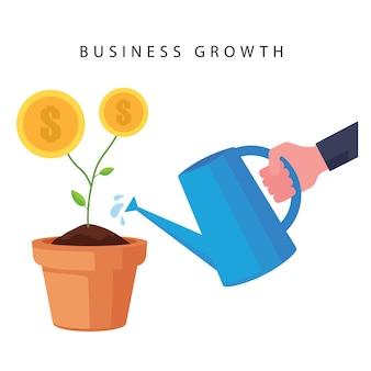 Kreskówka przedstawiająca rozwój biznesu przedstawia ludzi podlewających drzewo pieniędzy