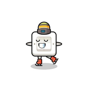 Kreskówka przełącznik światła jako łyżwiarz wykonujący, ładny styl na koszulkę, naklejkę, element logo