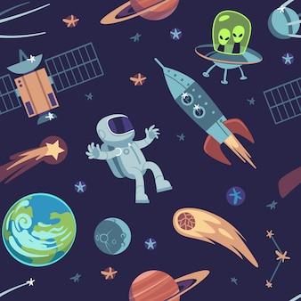 Kreskówka przestrzeń bezszwowe tło. ręcznie rysowane wzór galaktyki ze statkami kosmicznymi, satelitami, planetami astronautami, doodle dla dzieci