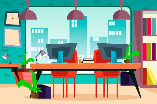 Kreskówka przestrzeń coworkingowa w pomieszczeniu