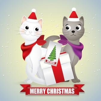 Kreskówka, przyjaciele kotów w śniegu na sezon zimowy.