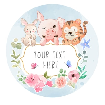 Kreskówka przyjaźń dzikich zwierząt ze znakiem i ilustracjami kolorowych kwiatów