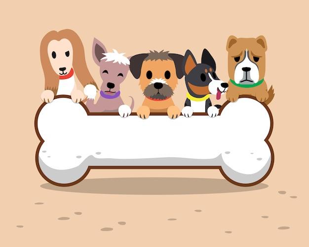 Kreskówka psy i duży znak kości