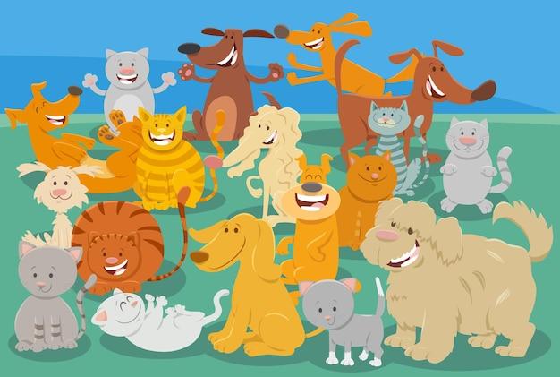 Kreskówka psy i koty komiksowe postacie zwierząt