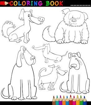 Kreskówka psy lub szczenięta do kolorowanka