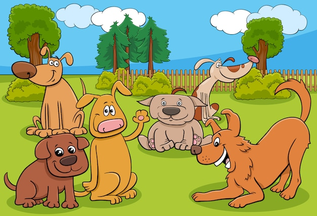 Kreskówka psy zwierząt znaków grupy w parku
