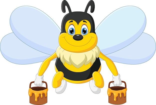 Kreskówka pszczoła niosąca miód w wiadrze