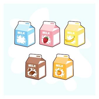 Kreskówka pudełko z mlekiem. truskawka, czekolada, banan, pomarańcza i zwykłe mleko.