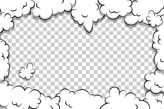 Kreskówka puff chmura szablon komiks kreskówka ramka tekstu