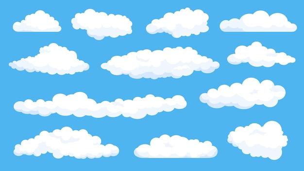 Kreskówka puszyste białe chmury na lato błękitne niebo. elementy komiksów pochmurnej pogody. kształt prosty płaski streszczenie chmura dla gry lub logo wektor zestaw. jasny dzień z dobrym klimatem, meteorologia