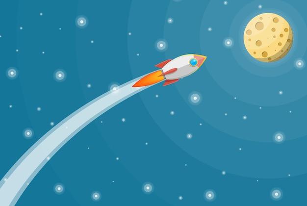 Kreskówka rakieta na niebie. startuje statek kosmiczny. koncepcja uruchomienia firmy