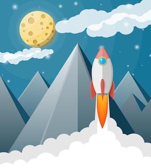 Kreskówka rakieta na niebie
