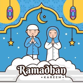 Kreskówka ramadhan kareem powitanie kolorowa ilustracja z uroczą postacią