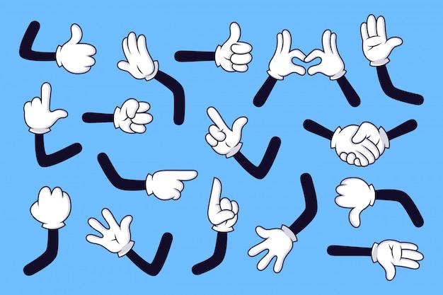 Kreskówka ramiona. ręce w rękawiczkach z różnymi gestami, różne komiksy w białych rękawiczkach zestaw ilustracji. zbiór ruchów i znaków na niebieskim tle. gest postaci z kreskówki