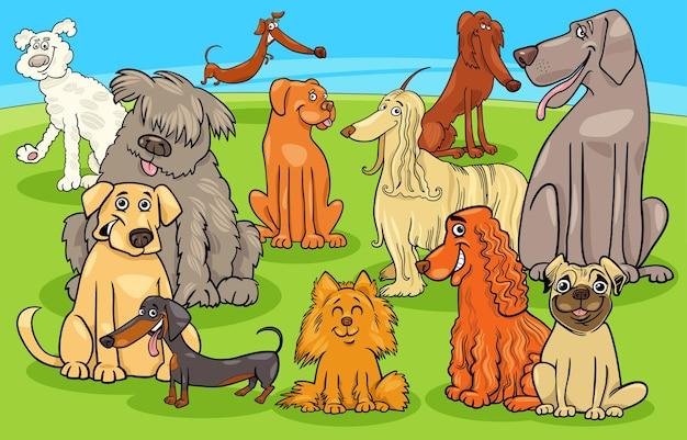 Kreskówka rasowe psy i szczenięta grupa znaków