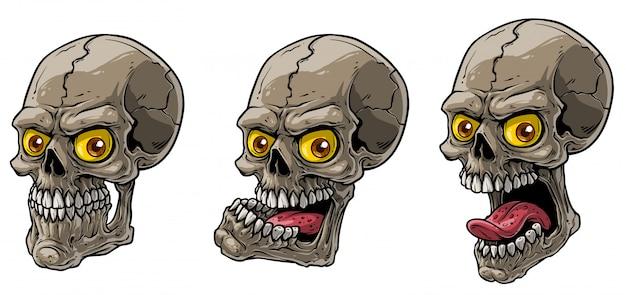 Kreskówka realistyczne straszne ludzkie czaszki wektor zestaw