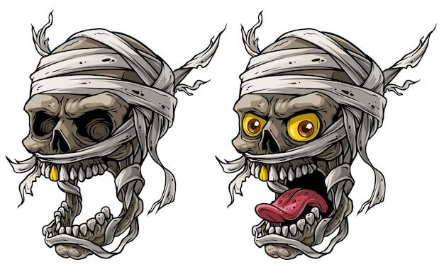 Kreskówka realistyczne straszne mumia czaszki wektor zestaw