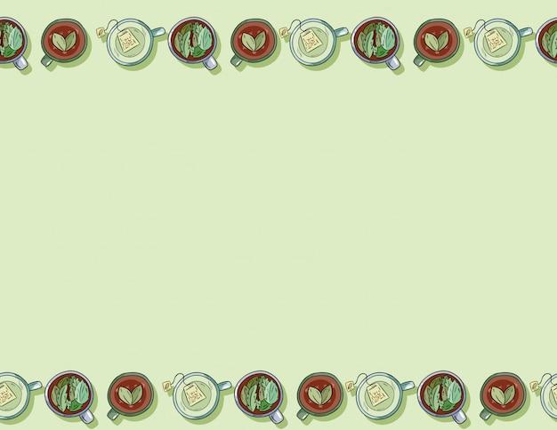 Kreskówka ręcznie rysowane kubki pyszne zielone napoje