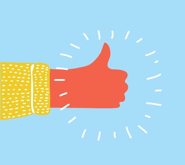 Kreskówka ręka kciuk gest ilustracji wektorowych