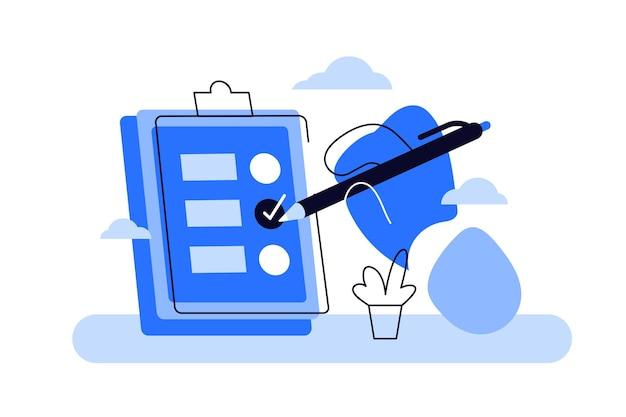 Kreskówka ręki trzymającej schowek z listą kontrolną i ołówkiem.
