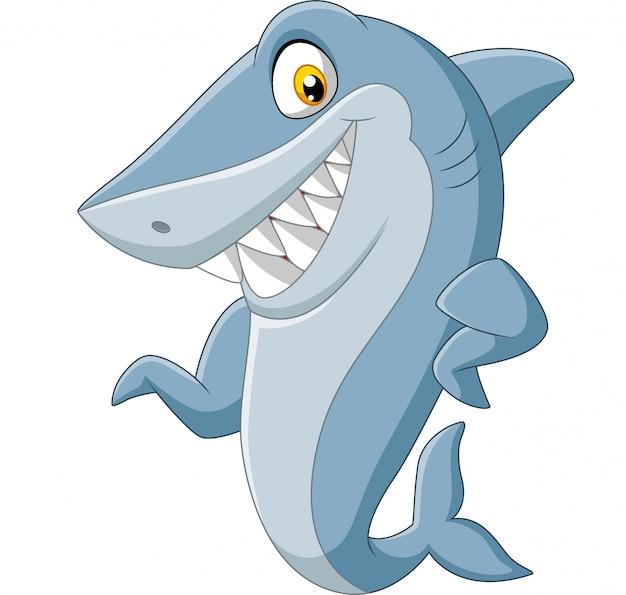 Kreskówka rekin macha na białym tle