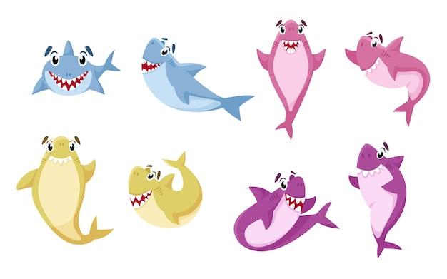 Kreskówka rekin na białym tle zestaw