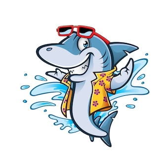 Kreskówka rekin z stroje kąpielowe i okulary przeciwsłoneczne uśmiechający się witamy