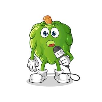Kreskówka reporter telewizyjny karczoch. kreskówka maskotka