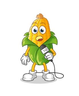 Kreskówka reporter telewizyjny kukurydzy. kreskówka maskotka