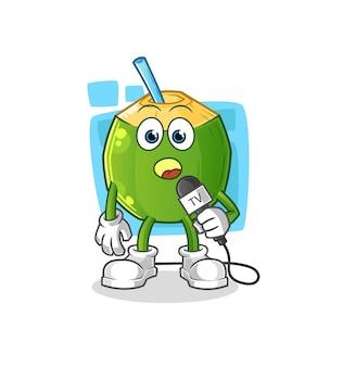 Kreskówka reportera telewizyjnego napoju kokosowego. kreskówka maskotka