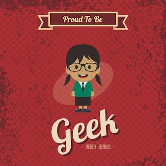 Kreskówka retro geniusz geek