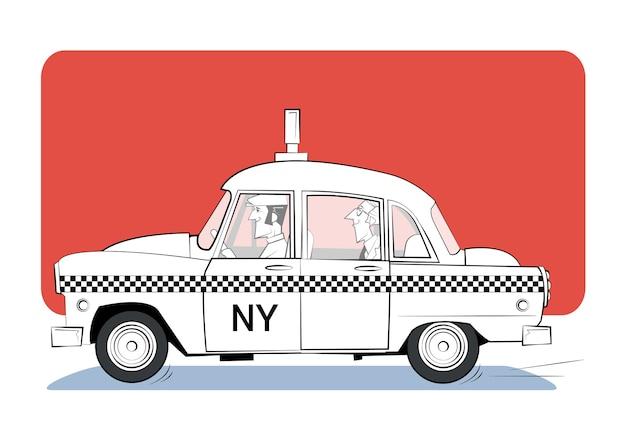 Kreskówka retro taxi na czerwonym tle.