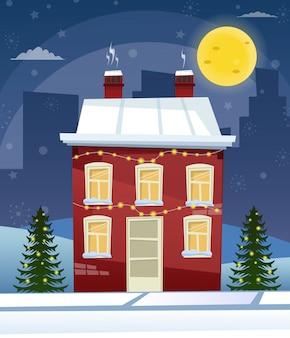Kreskówka retro wesołych świąt bożego narodzenia ilustracja miasto domy fasady krajobraz plakat vintage święty mikołaj jelenie.