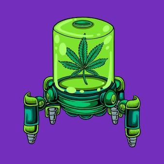 Kreskówka robota marihuany green slime