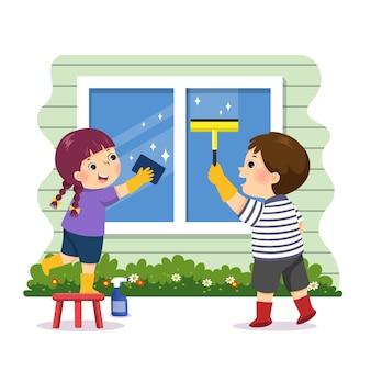 Kreskówka rodzeństwa pomagająca myć okno w domu. dzieci robią prace domowe w domu koncepcja.