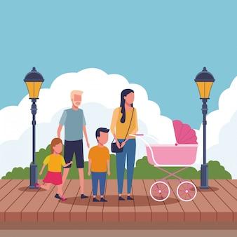 Kreskówka rodziny i dzieci