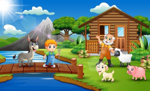 Kreskówka rolnik aktywność w pięknym parku