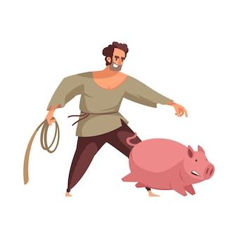 Kreskówka rolnik z liną w pogoni za świnią