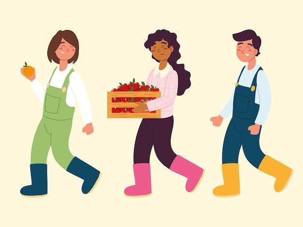 Kreskówka rolników z owocami