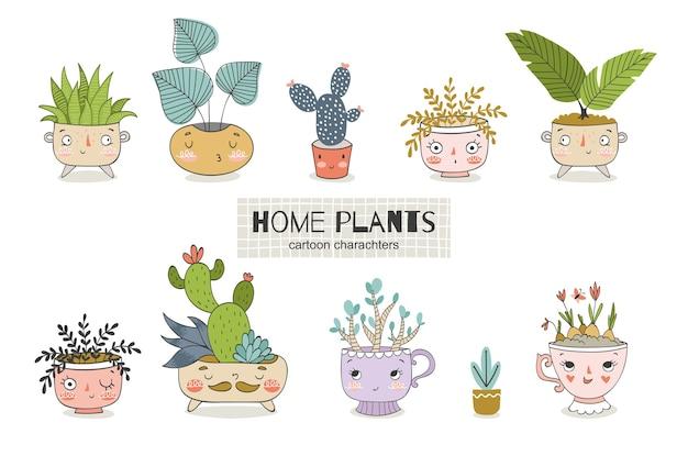 Kreskówka Rośliny W Kolekcji Doniczkowej. Rośliny Doniczkowe Doodles Ręcznie Rysowane Ikony Projektowania Premium Wektorów