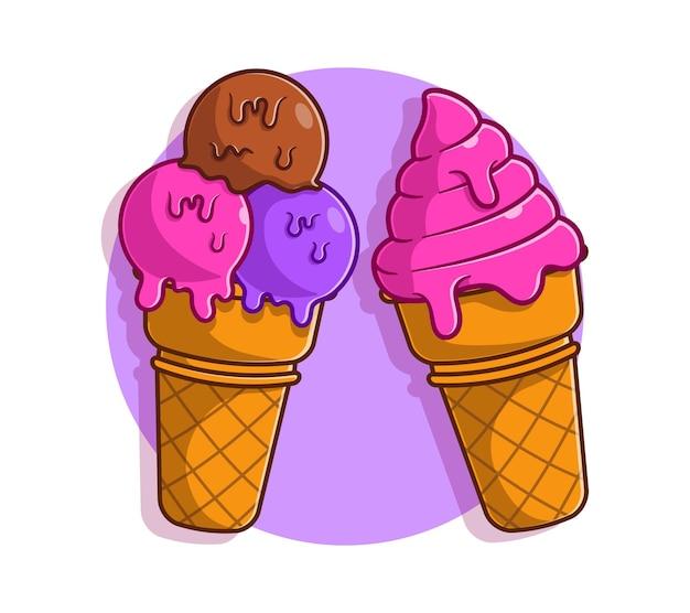 Kreskówka rożek lodów. letnia koncepcja słodkiej żywności płaska