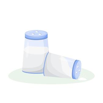 Kreskówka rozlana sól. obiekt w kolorze płaskim saltshaker. powszechny przesąd, tradycyjny znak nieszczęścia, symbol pecha. przyprawa do gotowania, przyprawa na białym tle