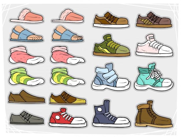 Kreskówka różne buty i soki wektorowe ikony