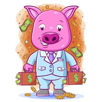 Kreskówka różowa świnia trzyma dwie duże torby pieniędzy z radosną buźką