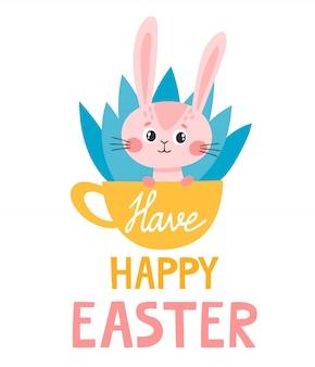 Kreskówka różowy królik w filiżance i napis na wielkanoc