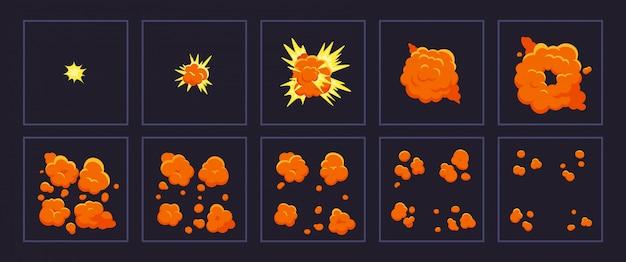 Kreskówka ruch eksplozji. animowany strzał eksplozji, wybuchające klatki ognia. wybuchający zestaw ilustracji ramek efektów. animacja kreskówki wybuchu, ruch boomu, efekt eksploracji